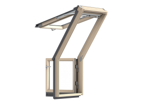 GEL 2065 – roof terrace window, wooden, white painted, double glazed, super energy-saving pane, toughened and laminated glass P2A, Uw = 1,1