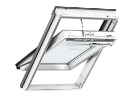 GGU 006221 – wooden-polyurethane, top opening, VELUX INTEGRA® electric control, triple glazed, super energy-saving pane, toughened and laminated glass P2A, rain noise reduction, Uw = 0,92