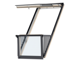 GDL 2066 – VELUX CABRIO® balcony, wooden, white painted, triple glazed, super energy-saving pane, toughened and laminated glass P2A, rain noise reduction, Uw = 1,2