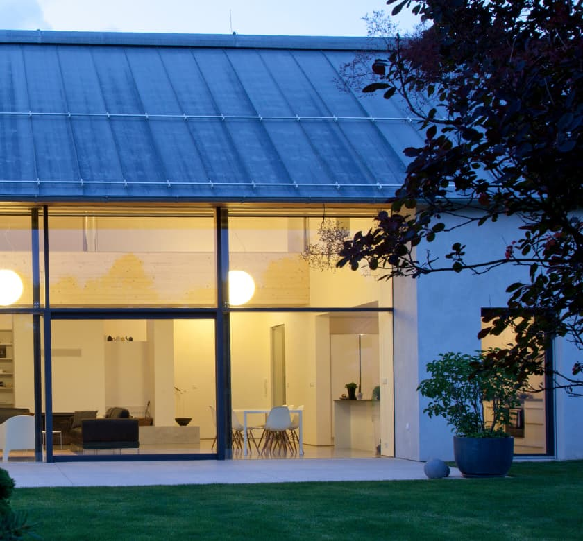 Modern aluminium windows by night